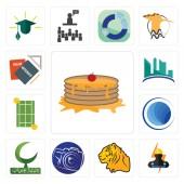 Set Of 13 simple editable icons such as pancake electrician tiger photography camera bismillah globe tennis court contruction homework can be used for mobile web UI