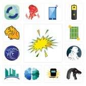Set Of 13 simple editable icons such as starburst mamba welding free brain contruction detective photography camera tennis court tiger can be used for mobile web UI