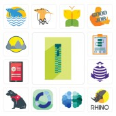 Set Of 13 simple editable icons such as zipper rhino free brain sector service dog purple cobras login screen action plan montain can be used for mobile web UI
