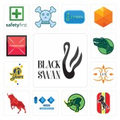 Set Of 13 simple editable icons such as black swan horse rhino 100 year anniversary bull lux 70 years dino placeholder can be used for mobile web UI