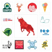 Set Of 13 simple editable icons such as bull 70 years skull and crossbones placeholder black swan 100 year anniversary rhino secretary made in america can be used for mobile web UI