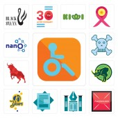Set Of 13 simple editable icons such as handicapped placeholder educational institute statement 70 years rhino bull skull and crossbones nano can be used for mobile web UI