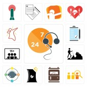 Set Of 13 simple editable icons such as live support advisor electric meter bag of chips travel agent hiker number players order form dab can be used for mobile web UI