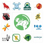 Set Of 13 simple editable icons such as moose badminton rhino gluten free black swan 100 year anniversary dragonfly 70 years can be used for mobile web UI