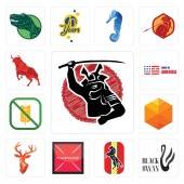 Set Of 13 simple editable icons such as black swan horse placeholder stag head cubic gluten free made in america bull can be used for mobile web UI