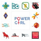 Set Of 13 simple editable icons such as girl power placeholder bike chain gangster bull sparta hotspot dragonfly can be used for mobile web UI
