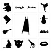 Set Of 13 simple editable icons such as painter easel lips giraffe jaguar face lord shiva outline images on white background  houston skyline image les paul can be used for mobile web UI