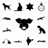 Set Of 13 simple editable icons such as pig face denver skyline india map cincinnati missouri t rex seattle skyline on white background  ak47 florida can be used for mobile web UI