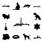 Set Of 13 simple editable icons such as dc skyline seattle skyline on white background  boxer dog lips jaguar face star of david image les paul t rex shih tzu can be used for mobile web UI
