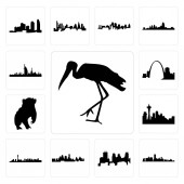 Set Of 13 simple editable icons such as stork florida minneapolis skyline on white background  kansas city skyline las vegas can be used for mobile web UI