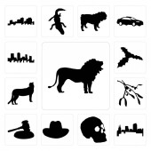 Set Of 13 simple editable icons such as lion outline images on white background colorado skull background can be used for mobile web UI