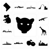 Set Of 13 simple editable icons such as jaguar face seattle skyline on white background  apple kansas city skyline dubai giraffe dc ak47 koala can be used for mobile web UI