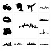 Set Of 13 simple editable icons such as pittsburgh skyline las vegas minneapolis skyline on white background  kansas city long island dc can be used for mobile web UI