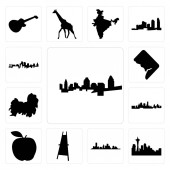 Set Of 13 simple editable icons such as cincinnati skyline seattle skyline on white background  houston painter easel apple kansas city shih tzu can be used for mobile web UI
