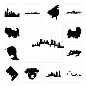 Set Of 13 simple editable icons such as pittsburgh skyline st louis long island pig face dc crime scene body french horn shih tzu tzu can be used for mobile web UI