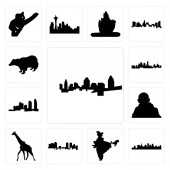 Set Of 13 simple editable icons such as cincinnati skyline st paul skyline on white background  india map fort worth giraffe gandhi long island can be used for mobile web UI