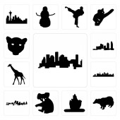Set Of 13 simple editable icons such as houston skyline badger lord shiva outline images on white background  koala kansas city skyline can be used for mobile web UI