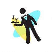 Waiter serving a drink on a tray icon vector sign and symbol iso
