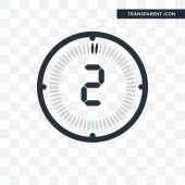 The 2 minutes vector icon isolated on transparent background Th