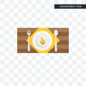 Hot dish vector icon isolated on transparent background Hot dis