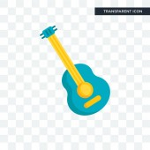 Guitar vector icon isolated on transparent background Guitar lo