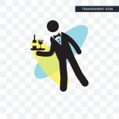 Waiter serving a drink on a tray vector icon isolated on transpa