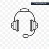 Customer Service Headset vector icon isolated on transparent bac