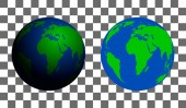 Model of planet Earth with shadow and without on isolated background