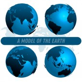 Planet Earth model on white background with earth map