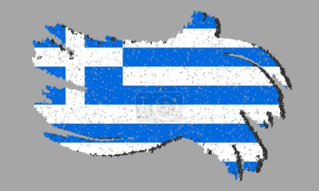 Illustration for Grunge Greece flag, Greece flag with shadow on isolated background, vector illustration - Royalty Free Image