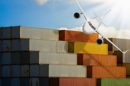 Port Container Transportation Industry with airplane.