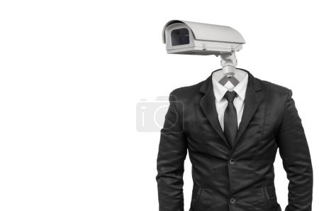 Suit with security CCTV head isolated on white with clipping path.