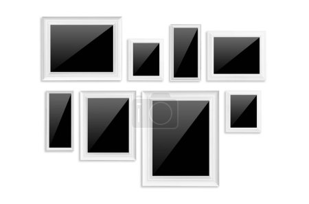 White frame isolated with blank black on white background with clipping path.
