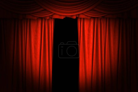 Red velvet curtains open. Light and spotlights on the stage for the background.