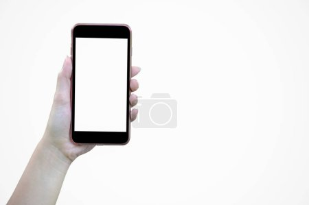 Woman hand holding mobile smartphone on white background, isolated on screen.