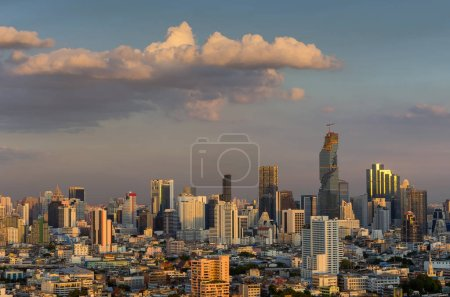 Photo for Aerial view of Bangkok modern office buildings, condominium in city downtown with sunset sky, skyline, Bangkok city Thailand. - Royalty Free Image
