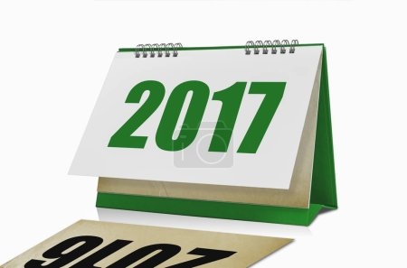 Happy New Year 2017 desktop calendar isolated with clipping path.