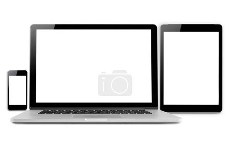 Photo for Laptops, tablets and mobile phones. Mockup image of electronic gadgets isolated on white background. - Royalty Free Image