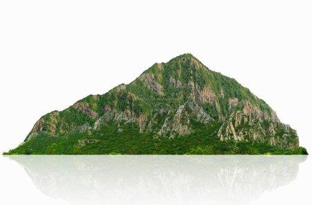 Berg, Insel oder Hügel isoliert auf weiß mit Clipping-Pfad, für Fotomontage.
