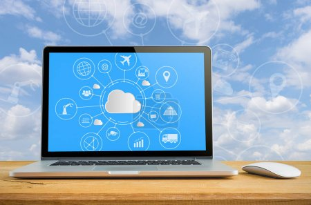 Photo for Cloud technology concept, Laptop with cloud computing on table. - Royalty Free Image