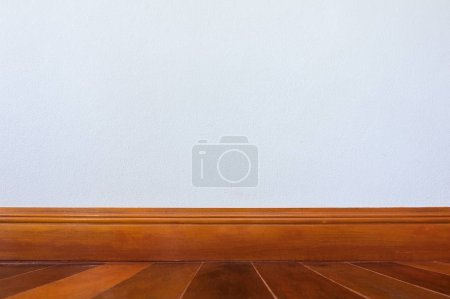 Photo for Background of Blank white cement walls and wooden floor, Interior decoration. - Royalty Free Image