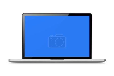 laptop computer isolated on white with clipping path, Blank blue space on the screen.