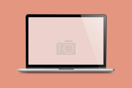 Photo pour Ordinateur portable brillant brillant isolé, vierge à l'écran, style Vintage . - image libre de droit
