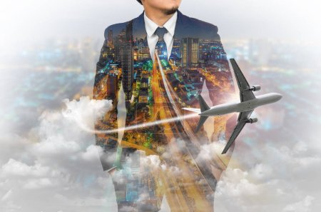 Double exposure of businessman wearing suit with Skyscraper background and airplane.