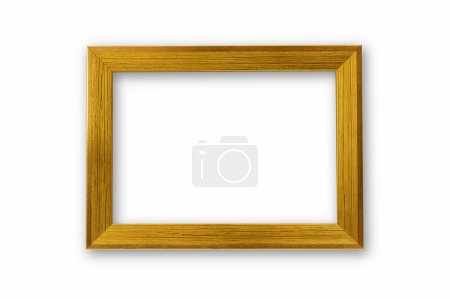 Golden wooden photo frame isolated on white with clipping path.