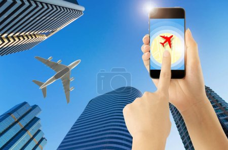 Touch screen smart phone on Airplane icon with GPS Navigation Directions Location Map Concept.