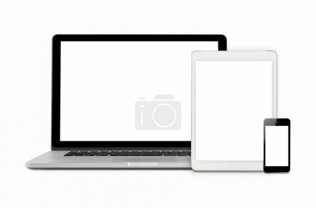 Laptops, tablets and mobile phones. Mockup image of electronic gadgets isolated on white background.