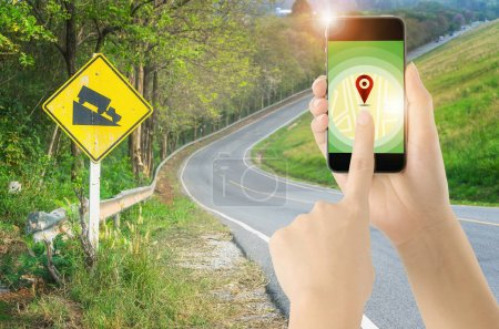 Touch screen smart phone on GPS icon with GPS Navigation Directions Location Map Concept.