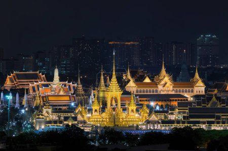 Top view of Construction site of the Royal funeral pyre of King Bhumibol Adulyadejaadej at twilight in Sanam Luang Bangkok, with background is the palace of Thailand.