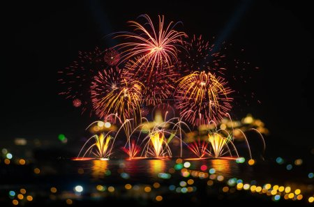 Photo for Beautiful firework display for celebration with blur bokeh light - Royalty Free Image